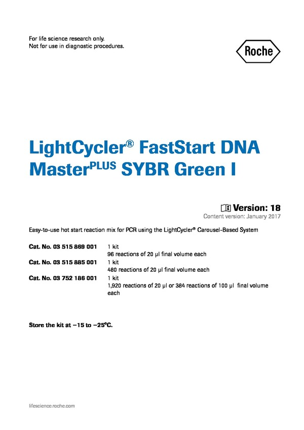 Lightcycler Faststart Dna Masterplus Sybr Green I